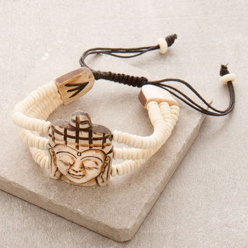 Hand Carved Buddha Bone Bracelet