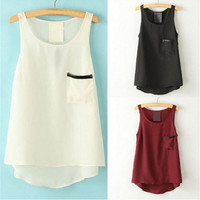 Hot Popular Chiffon Leather Black Red White Top Women Tank Vest b4784