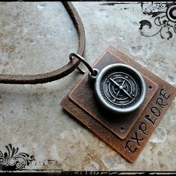 Layered Hand Stamped Explore Leather Compass Charm Necklace Mens Compass Explore Necklace