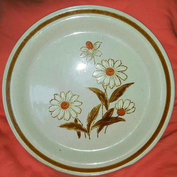 Vintage Old Brook Stoneware Serving Platter / Chop Plate in Trailwoods Pattern / Old Brook Stoneware Plate
