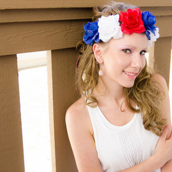 Large Patriotic Rose Flower Crown, Flower Headband, 4th of July Outfit, Independence Day Headband, Memorial Day Headband, Festival Wear