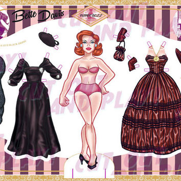 Printable Paper Dolls - Bette Davis, paper doll with 6 dresses, printable toys, dress up doll, cutout, kids gift, A4 JPEG