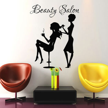 Wall Decal Beauty Salon Hair Salon Fashion Girl Woman Haircut Hairdressing Barbershop Decals Vinyl Sticker Wall Decor Art Mural MN472