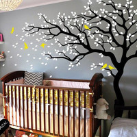 Tree wall decal nursery wall decal wall sticker baby girl wall decals children kids room wall decor nature tree birds vinyl wall decal