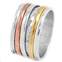 Spinner Ring - Three Tone Rimmed Sterling Silver Ring