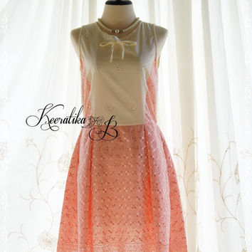 Simple Summer Day - Adorable Simply Cotton Lace Party Tea Dress Vintage Style Cream And Peach Lace Dress