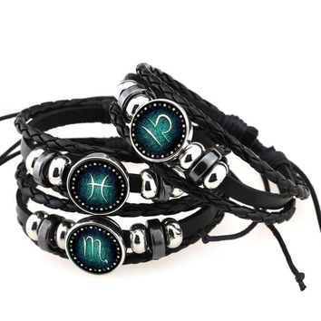 Constellation Zodiac Braided Leather Bracelet