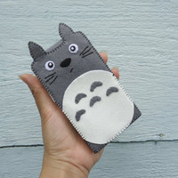 "iPhone Case - Cell Phone Case - Flip iPhone 4 Case - Handmade Flip Felt Case - "" Totoro"" Design"