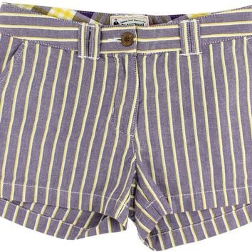 Women's Shorts in Purple and Gold Oxford Stripe by Olde School Brand - FINAL SALE