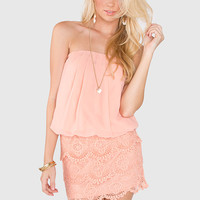 Such A Doll Lace Dress - Peach