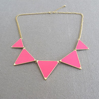 Pink / triangle shiny necklace/ Green necklace /bubble statement necklace/ bib necklace statement necklace pendant necklace
