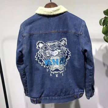 KENZO Woman Men Fashion Cashmere Denim Cardigan Jacket Coat