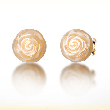 "Galatea: June Pearl Flower - 10mm Pearl Earrings carved into the shape of a Rose. Set in 14K Gold. From the ""Pearl Flowers"" collection."