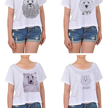 Women Bears in hand draw style Printed Cotton Croptop WTS_08