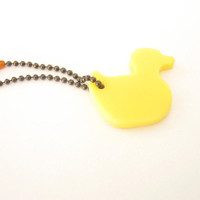 Yellow duck , yellow keychain , resin tag , bag tag , zipper tag, bronze chain , handmade Sydney Australia , bird key chain, pet tag
