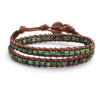 Turquoise Blue Green Brown Leather Wrap Bracelet Mens Womens Rustic Western Southwestern Boho Bohemian Chic