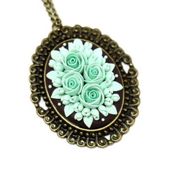 """Mint Floral Pendant Necklace """"Mint Ice Cream"""" St. Valentine's Day Gift for Girlfriend Romantic Jewelry Floral Jewelry Mint Necklace"""