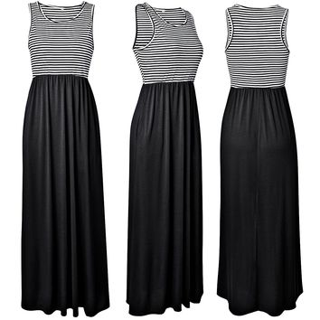 Summer round neck slim sleeveless striped long skirt dress