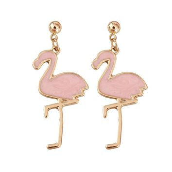Pink Flamingo Earrings Lovely Jewelry of Bird Red Crane Metal Earrings for Girls
