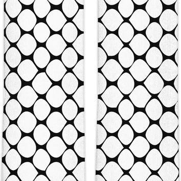 Black and white vector fishnets pattern knee high socks, stylish girls everyday clothing