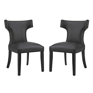 Curve Dining Side Chair Vinyl Set of 2 Black EEI-2740-BLK-SET