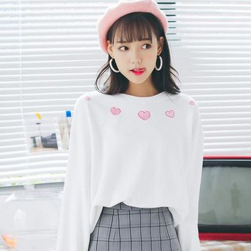 Harajuku Kawaii Long Sleeve Polluvers Sweathershirt Women 2018 Harajuku Goth Cute Heart Embroidery Tops Female Clothing KA59