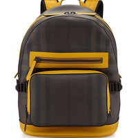 Burberry Smoke Check Backpack with Leather Trim, Yellow/Black/Brown
