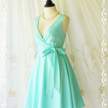My Lady II Spring Summer Sundress Vintage Design Mint Blue Party Dress Blue Bridesmaid Dress Garden Party Sundress Blue Dresses XS-XL