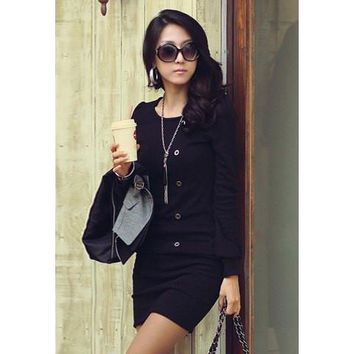 Black Long Sleeve Button Up Dress