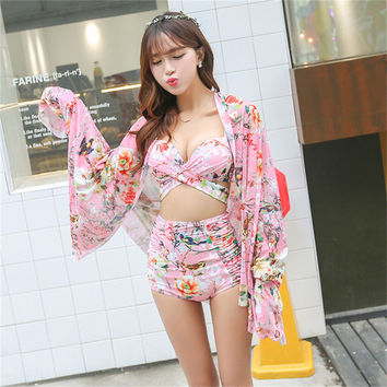 High Waist Swimsuit Bandage Bikini Floral Print Retro Vintage Bathing Suit Biquini Plus Size Swimwear Push Up Beach Wear Clothes