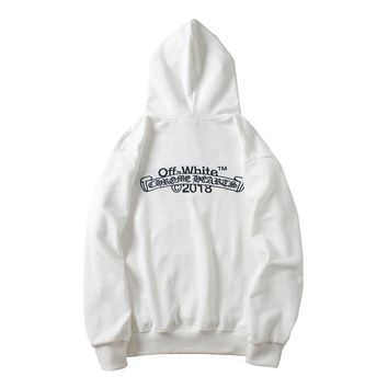 OFF-WHITE Autumn and Winter Tide Brand Embroidered Letter Hoodie white