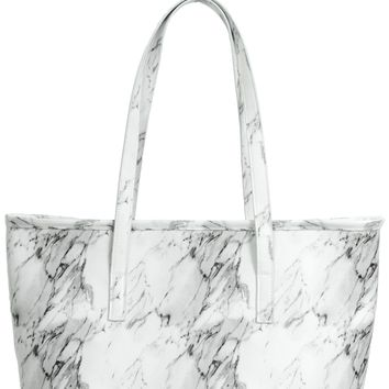 White Marble Insulated Cooler Lunch Tote Bag