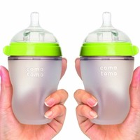 Comotomo Baby Bottle, Green, 8 Ounce, 2 Count