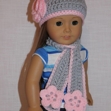 crochet beanie hat with flower, long scarf with flowers, light grey and pink, 18 inch doll clothes