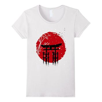 Snowing japan torii sun T-shirt Christmas winter Holiday