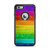The Rainbow Highlighted Wooden Planks Apple iPhone 6 Plus Otterbox Defender Case Skin Set
