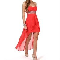 Luisa-Coral Beaded Prom Dress
