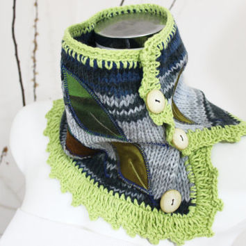 Gray Hand-knitted neck warmers, Wool Moher eternity, Button infinity, Blue gray hand-knit, Women's knit infinity, Gray blue green knitted