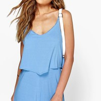 Dinah Strappy Cami Overlay Playsuit | Boohoo