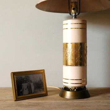 Ceramic Table Lamp Mid Century Pale Pink Gold Embossed
