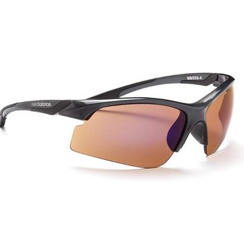 New Balance Sun NB 555-4 Sunglasses, Shiny Dark Metallic Carbon with Black, Copper with Silver Flash Mirror
