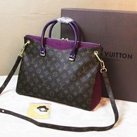 Louis Vuitton Women Fashion Leather Handbag Bag Boston Bag Purple