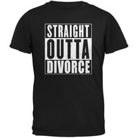 Straight Outta Divorce Funny Black Adult T-Shirt
