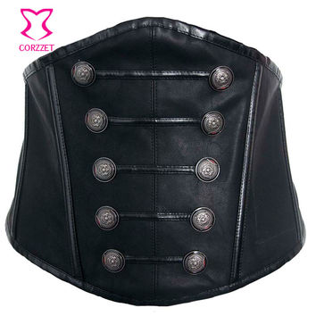 Gothic Punk Black Faux Leather Ceinture Corset Belt Lace Up Back 2017 Steampunk Wide Belts For Women Slimming Waist Belt Sexy