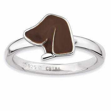 Sterling Silver Brown Enameled Dog Head Ring