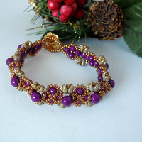 Eggplant Purple and Bronze Beaded Bracelet Seed Bead Bracelet Pearl Bracelet  Victorian Style Gift for Women