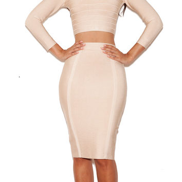 Clothing : 2 Pieces : 'Bruna' Cream Bandage Long Sleeved Two Piece