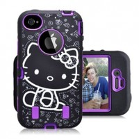 Gmatrix Hello Kitty Series Hybrid Case for Iphone 4 & 4s - Retail Packaging - Purple