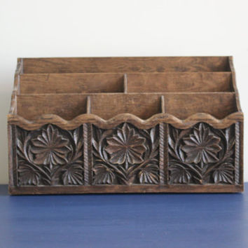 Vintage Lerner Faux Wood Mail Holder, Letter Sorter, Desk Organizer, Office Decor