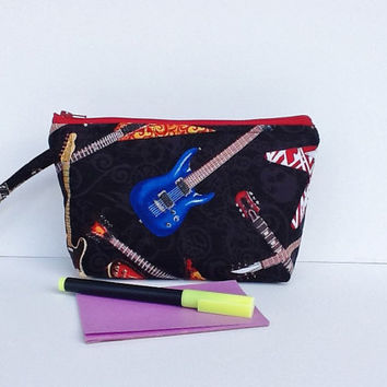 Cosmetics Guitars Zippered Pouch Wristlet Makeup Case Travel Clutch Purse Accessories Bag Graduation Mother's Day Gift For Her For Him
